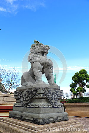 Chinese lion statues in Chinese temple