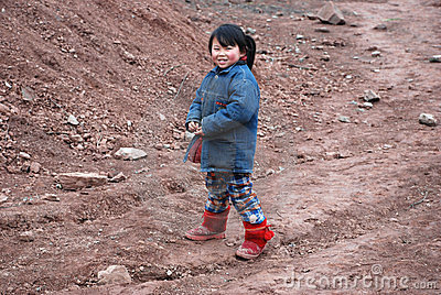 Chinese little girl in the countryside Editorial Photography
