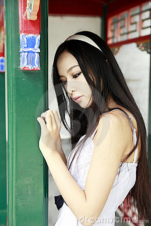 Chinese long-haired girl outdoor