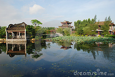 The Chinese lotus pond garden