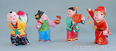 Chinese lucky clay figurine_all the best