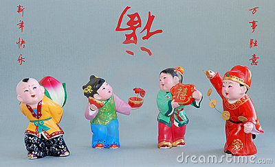 Chinese lucky clay figurine_all the best(char)