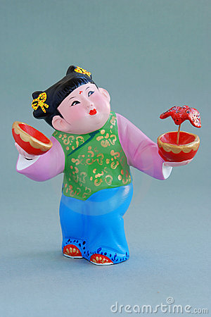 Chinese lucky  clay figurine - great happiness