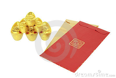 Chinese lunar New Year red packets and gold ingots