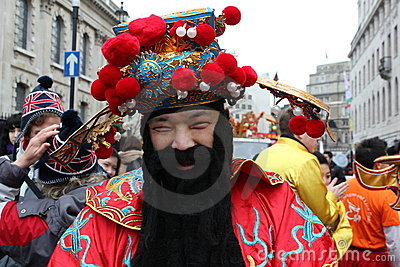 Chinese man in New Year costume Editorial Image