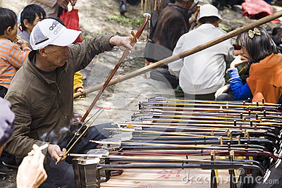 Chinese Man Playing Instrument Editorial Stock Photo