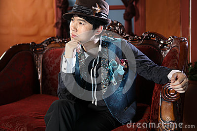 Chinese man in retro style