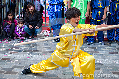 Chinese martial arts on Moon festival at Paris Editorial Image