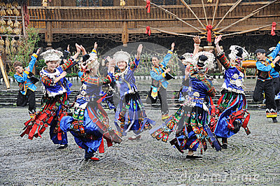 The chinese miao dancing Editorial Photography