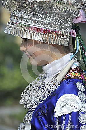 Chinese Miao nationality girl Editorial Stock Photo