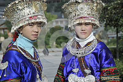 Chinese Miao nationality girls Editorial Stock Photo
