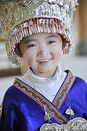 Chinese Miao nationality little girl Editorial Stock Image