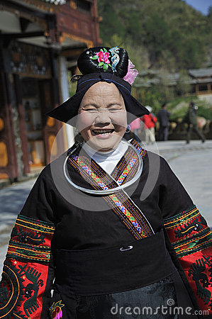 Chinese Miao nationality old woman Editorial Photography