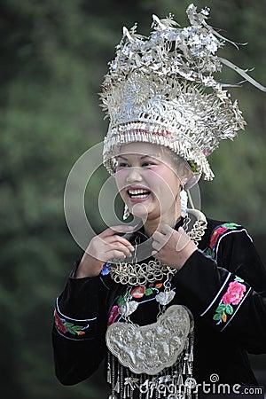 Chinese Miao nationality woman Editorial Photo