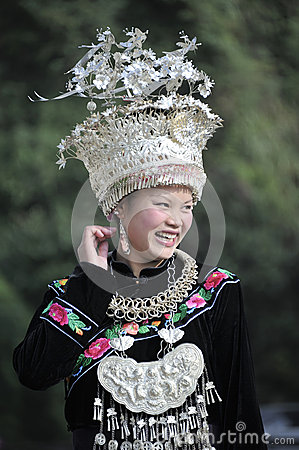 Chinese Miao nationality woman Editorial Stock Photo