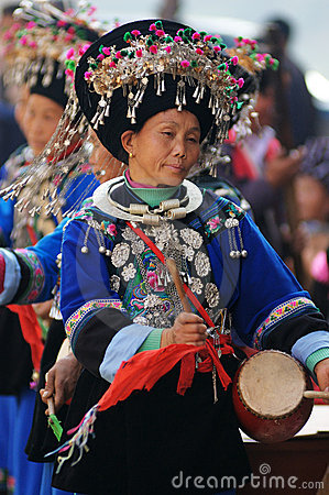 Chinese Miao nationality woman dancing Editorial Stock Image