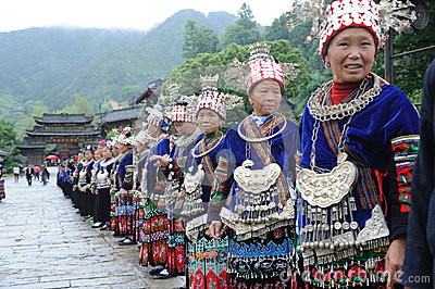 The chinese miao old women Editorial Stock Photo