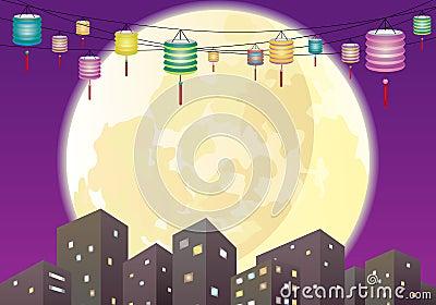 Chinese Mid autumn lanterns city night scene