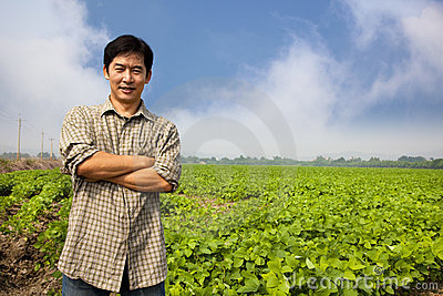 Chinese middle aged  farmer