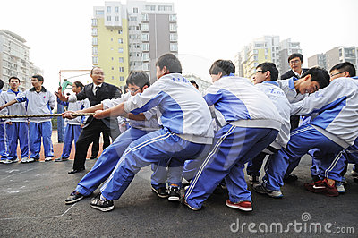 Chinese middle school Tug of war competition Editorial Stock Image