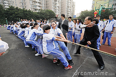 Chinese middle school Tug of war competition Editorial Photography