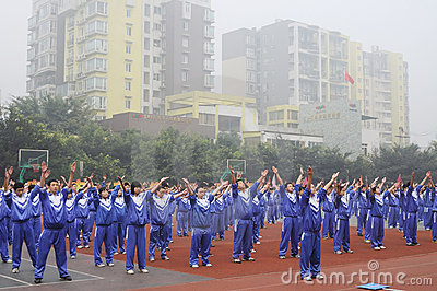 Chinese middle students do morning exercises Editorial Photography