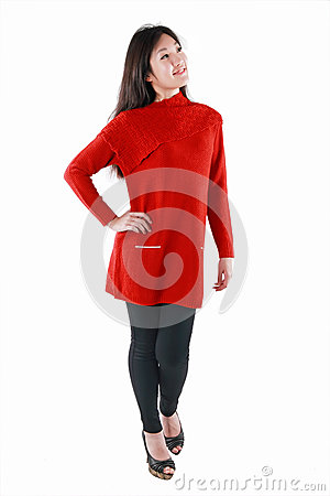 Chinese model in red dress
