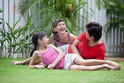 Chinese mom having fun with her daughters