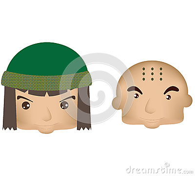 Chinese monk boy and girl mongolian
