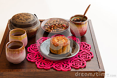 Chinese Moon Cake with rose tea.