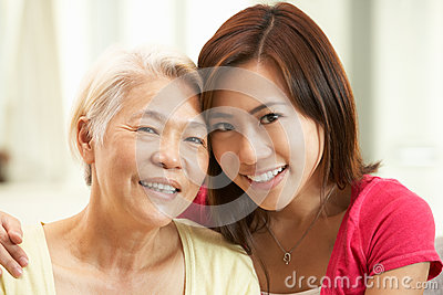 Chinese Mother With Adult Daughter At Home