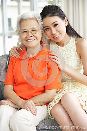 Chinese Mother With Adult Daughter Relaxing