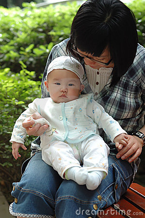 Chinese mother and baby