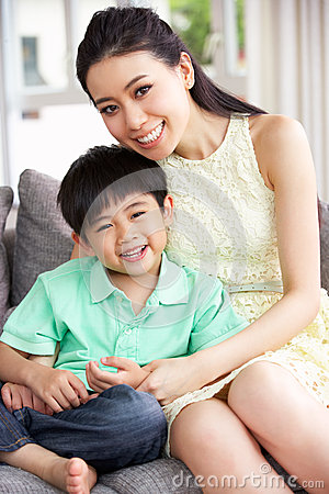 Chinese Mother And Son At Home Together