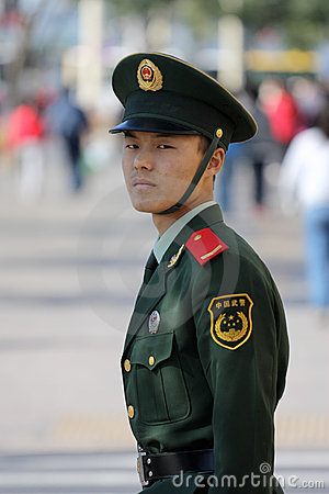 Chinese National Police in Full Uniform Editorial Photo