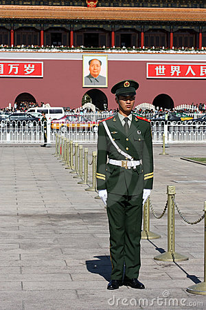 Chinese National Police in Full Uniform at Tiananm Editorial Image