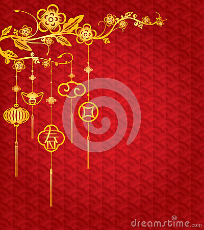 Free Chinese New Year Background With Golden Decoration Stock Photography - 48375752