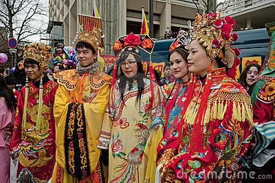 Chinese New Year Carnival,  Teens in Costumes Editorial Photo