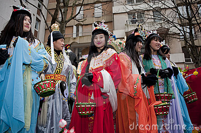 Chinese New Year Carnival,  Teens in Costumes Editorial Photography