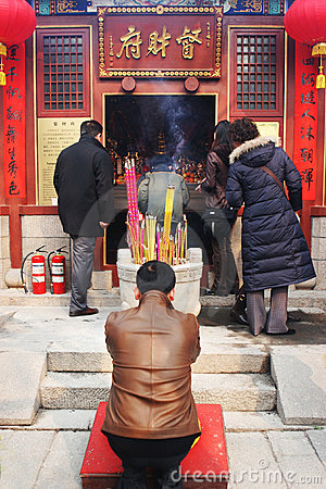 Chinese New Year celebrations and prayers (Year of the Pig). Editorial Photo