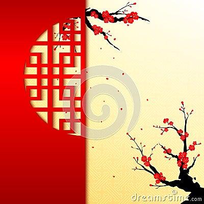 Free Chinese New Year Cherry Blossom Background Stock Photo - 35822820