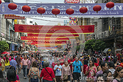 Chinese New Year Crowds - Bangkok - Thailand Editorial Photography