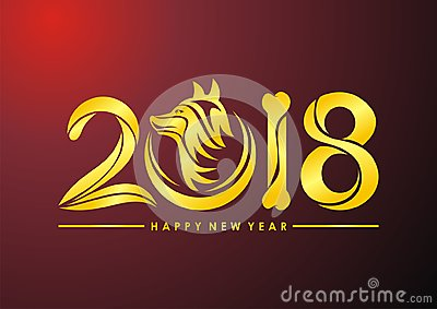 Chinese New Year of the dog 2018 text Stock Photo