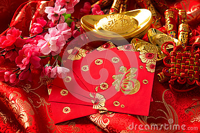 Chinese new year festival decorations stock photo image for Ang pow packet decoration