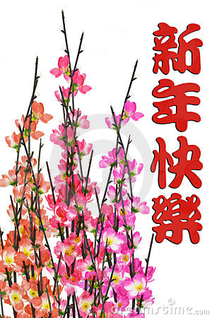 Chinese New Year greeting and plum blossom