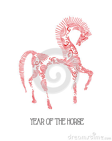 Chinese new year of the Horse abstract sketch illu