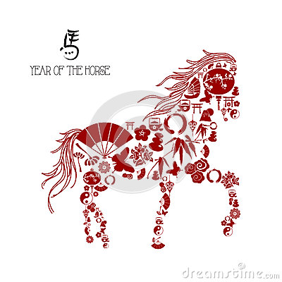 Chinese new year of the Horse: icons composition.