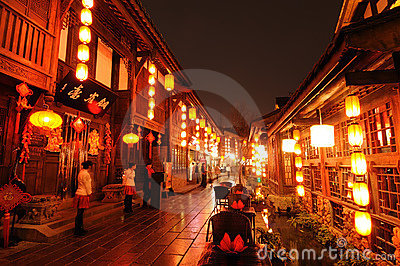 Chinese new year in Jinli old street Editorial Stock Image