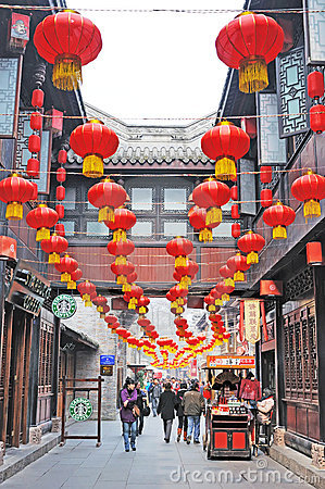 Chinese new year in Jinli old street Editorial Image