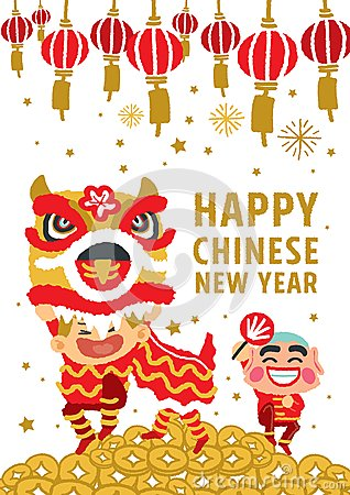 Free Chinese New Year Lion Dancing Vector Concept Stock Images - 49858404